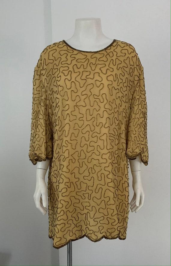 Beautiful Vintage Silk Beaded Mini Dress/Tunic