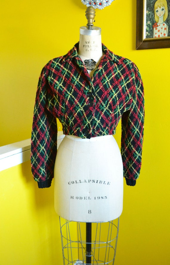 40s/50s Cropped Knit Bolero Shrug Jacket - image 2