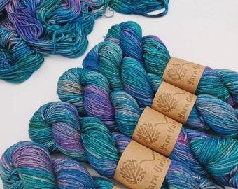 Agate Shine: Silky Yak Sock Yarn | Luxury Hand Dyed Yarns | Superwash Merino/Silk/Yak (60/20/20%) blend | 100g