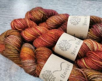 Autumn Jewel (DK): Silky Yak Sock Yarn | Luxury Hand Dyed Yarns | Superwash Merino/Silk/Yak (60/20/20%) blend | 100g