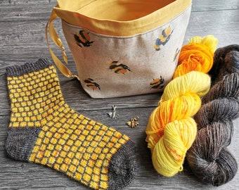 Honeycomb Sock Yarn & Pattern Set | Bee themed socks | Stitch Markers | Hand Dyed Luxury Alpaca Sock Yarn