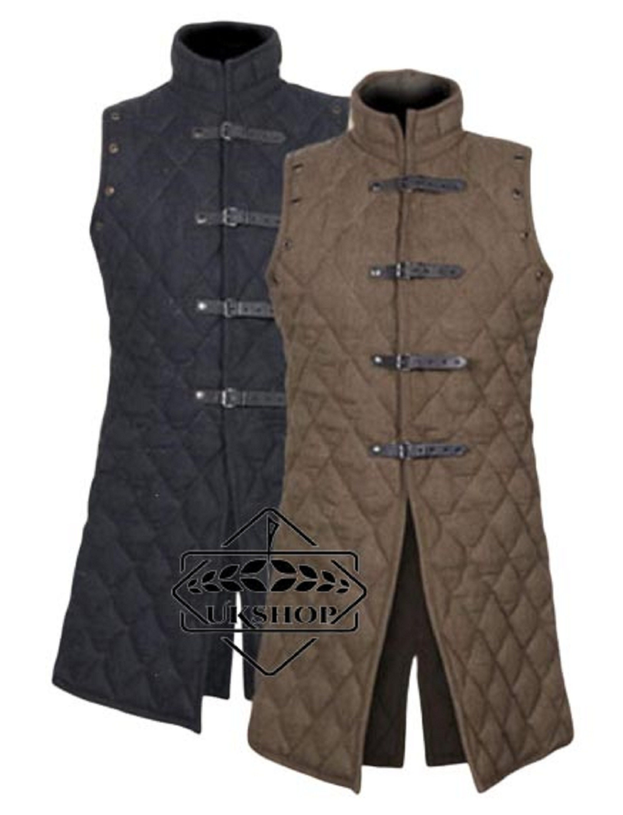 The Medieval Shop Gambeson Thick Padded Coat Aketon Jacket Armor Blue Cotton Fabrics Dress SCA