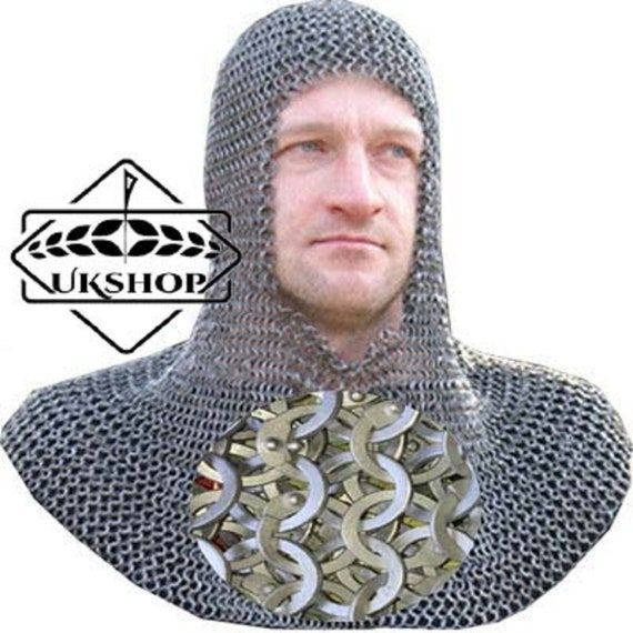 Chain Mail Coif Flat Riveted with Flat Washer Coif 9 mm SCA Knight Hood