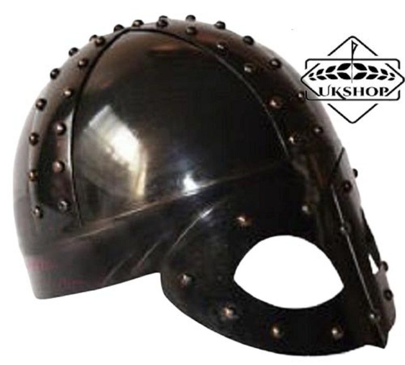 Medieval Viking Mask Knight Deluxe Helmet FREE Liner /& Chain For Man-Replica