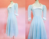 1970s Blue Polka Dot Midi Dress XS-S 1970s does 50s Prairie Formal Prom Dress