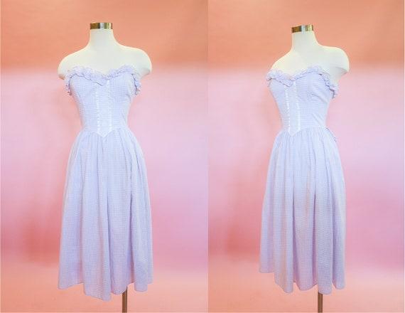 1980s Gunne Sax Purple Gingham Dress | XS | Lavend