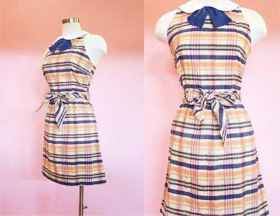1960s Seersucker Plaid Mini Dress | M | Rainbow Pe