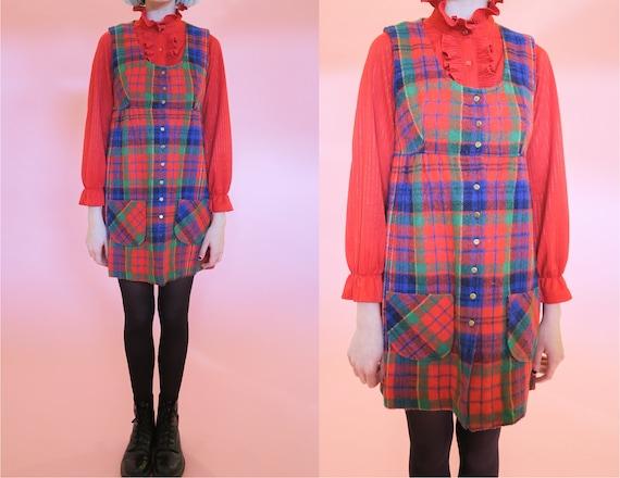1970s Plaid Mini Dress | S | Button Down Red Green