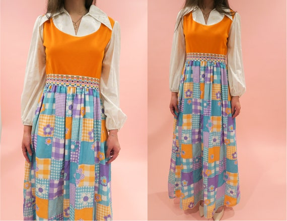 1970s Novelty Patchwork Maxi Dress | S | Plaid Gin