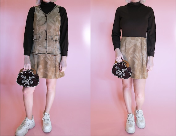 1970s Faux Suede Mini Dress + Vest Set | M | Groov