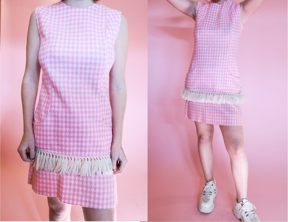 1960s Houndstooth Mini Dress + Skirt Set | M | Hot