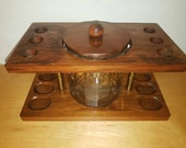 Vintage mid century modern, solid wood pipe rack cigar humidor , gift for dad