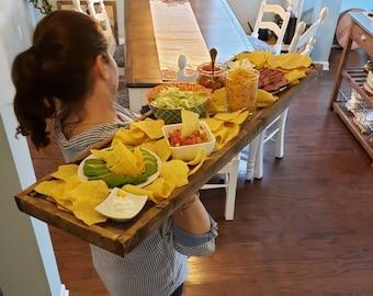 "Custom Charcuterie board personalized, 15"" wide, Large wood serving tray, Extra long Charcuterie Board, Wedding keepsake, Church dinner"