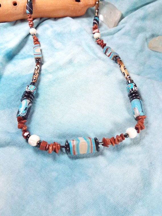 Bead Necklace Gemstone beaded Necklace Beaded New Age Necklace Boho Necklace Beaded Necklace Handmade Necklace