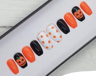 Pumpkin False Nails | Press On False Nails | Pumpkin Nails | Orange False Nails | Glue On Nails | Halloween False Nails | Hand Painted Nails