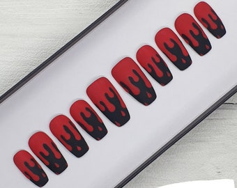 Matte Blood Drip False Nails | Press On False Nails | Matte Nails | Halloween False Nails | Glue On Nails | Hand Painted Nails | Gel Nails