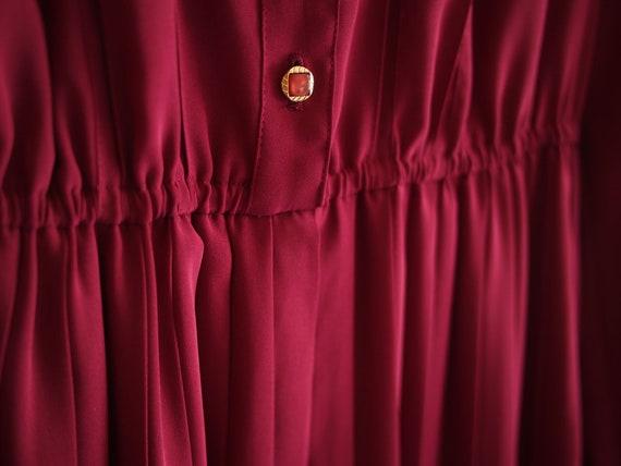Purple Red Bean Ruffles Long Sleeve Dress S