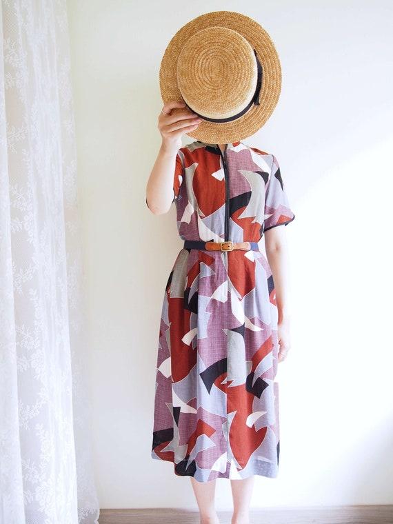 Earth Tone Mandarin Collar Dress