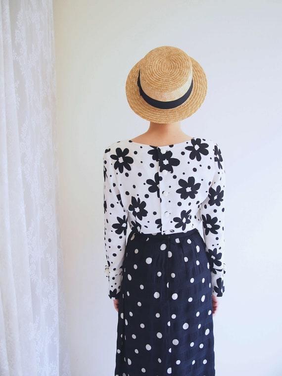 Black and White Dotted Pencil Skirt/ 80's chic pen
