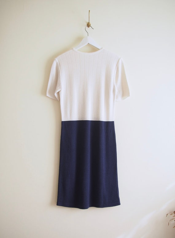 Minimalism White and Blue Two Tone Knitted Short Sleeve Dress M