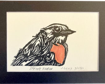 Red Robin Lino Cut decoration Watercolour Print optional frame handmade gift