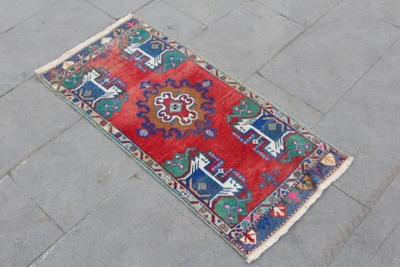 Red Small Rug Red Door Mat 1.7 x 2.7 ft Bathroom Rug Small Oriental Rug Wool Rug Small Turkish Rug Small Vintage Rug Small Entry Rug