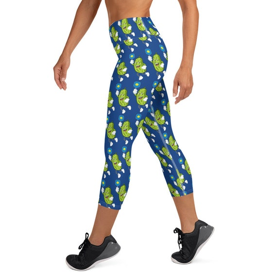 Capri Pickleball Leggings with Blue Camo Camouflage Pattern and Pickleballs Women/'s Pickleball Apparel by PickleballGals