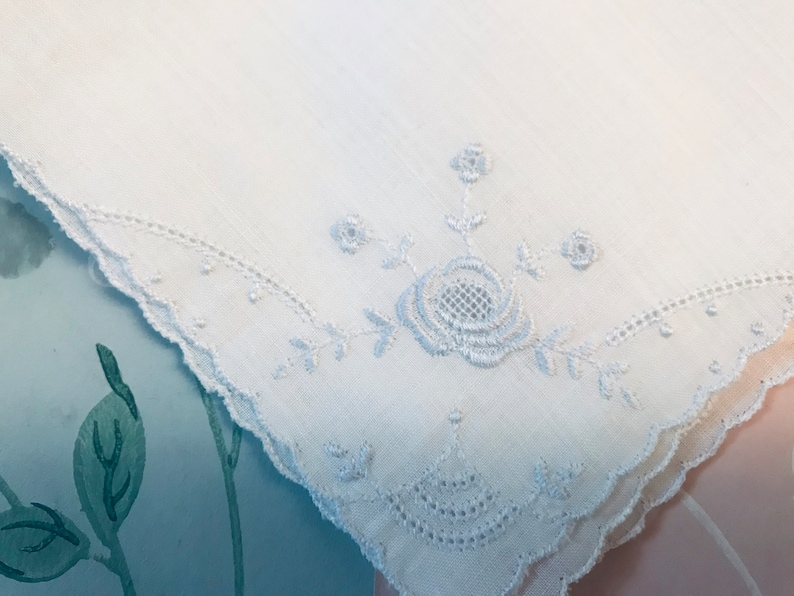 embroidered and hemmed in sky blue 2 old French handkerchiefs for tears of joy