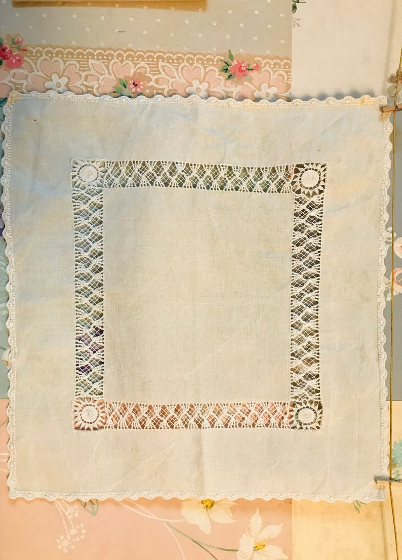 Old French handkerchief in embroidered linen