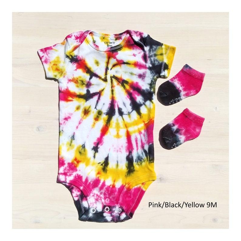 Tie Dye Spiral Baby Short Sleeve Bodysuit with Matching Socks Gift Set
