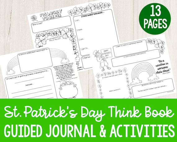 Printable Guided Journal for Kids  St Patrick's Day