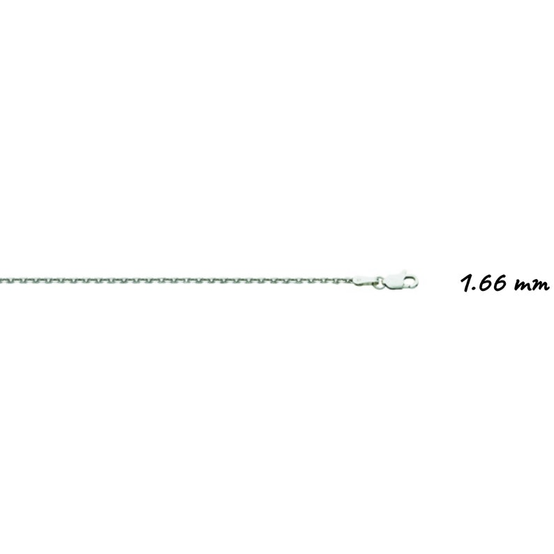16-24 Inch 0.8mm-2,4mm Thick Solid 14K White Gold DC Cable Chain Necklace
