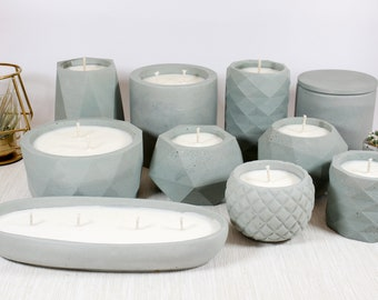 Sea Salt + Orchid Soy Candle in Aqua Concrete Container with Match Holder and Matches
