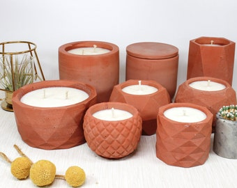 Grapefruit + Mangosteen  Soy Candle in Coral Concrete Container with Match Holder and Matches