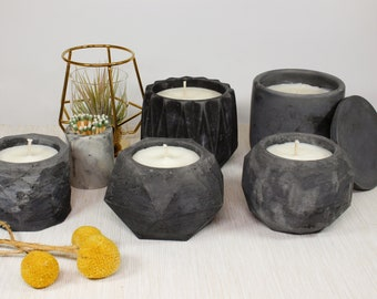 Black Sea Soy Candle in Antiqued Black Concrete Container with Match Holder and Matches
