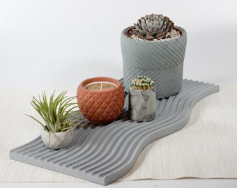 Wave Concrete Decorative Tray available in 24+ colors