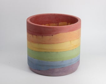 Classic Rainbow Concrete Planters for both Outdoor and Indoor use with Succulents and House Plants