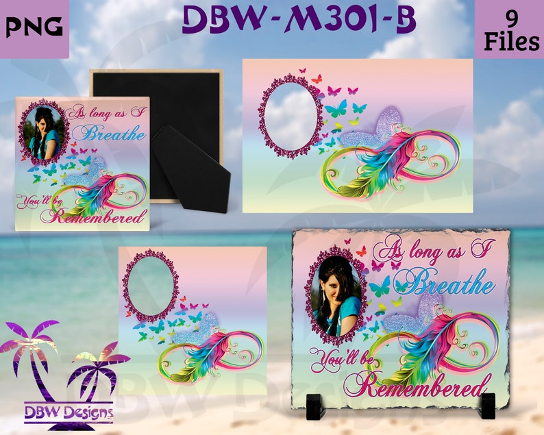 As long as I breathe #2 Infinity Rainbow Feather Memorial digital design 9 files plus Mockup Feathers Birds Butterfly doves  Sublimation Png