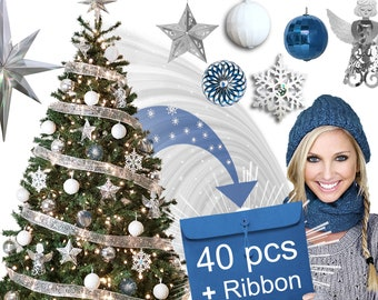 MAGIC ORNAMENTS: All Your Christmas Ornaments in ONE Envelope! Declutter Your Life for Apartments, Businesses; Silver/White/Blue Set