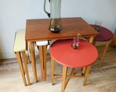 Upcycled Mid-century OTK Nest of Tables Stools - 1950s - Danish - Vintage - Hundevard Style - Czech