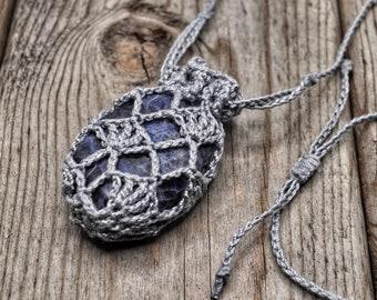 Crystal Pouch Necklace, Interchangeable Stone Holder, Crochet Medicine Bag, Adjustable Length