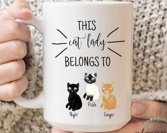 Custom Cat Mug, Cat Mom Gift, Cute Birthday Gift, Cat Lover Mug, Cat Coffee Mug, Cat Lady Mug, Cat Owner Gift, Cat Name Mug, Cat Lady Gifts