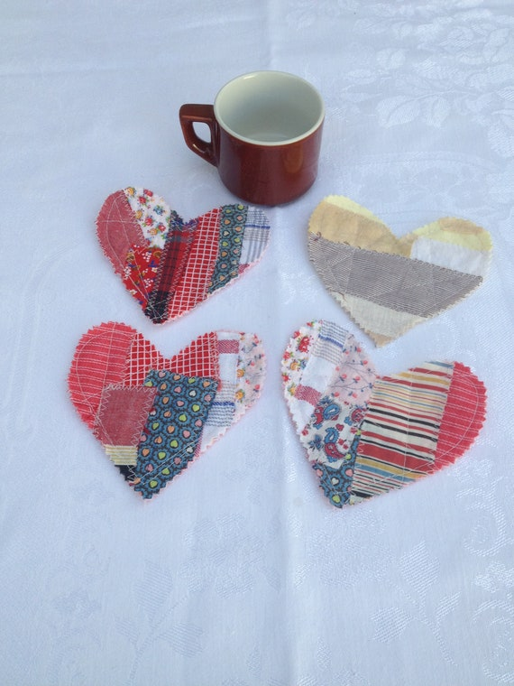 set of 4 hearts ready to ship heart coaster fabric patchwork heart free shipping