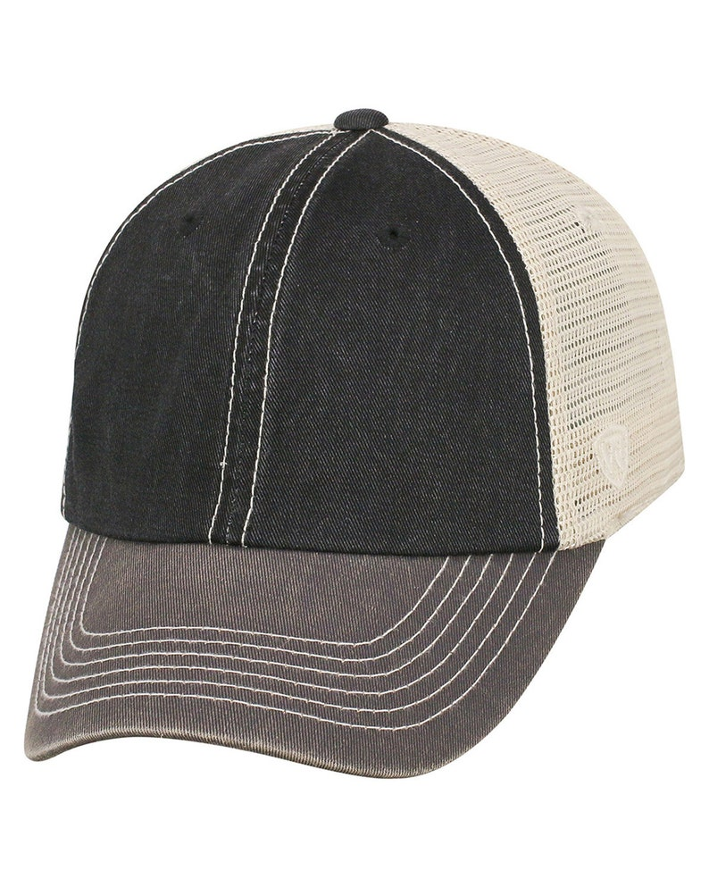 North Carolina Leather Cork Outer Banks OBX Unstructured 3 Tone Trucker Mesh Hat with Syn Leather Patch Euro Oval Logo