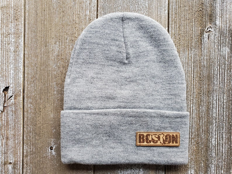 Boston Text with Mass Silhouette Syn Leather Horizontal Patch Beanie