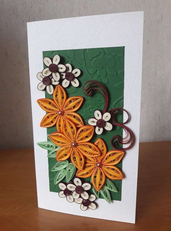Brilliant Paper Quilling Greeting Card With Handmade Flowers Card For Etsy Personalised Birthday Cards Cominlily Jamesorg