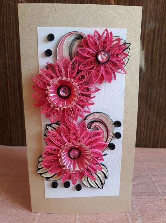 Peachy Paper Quilling Greeting Card With Handmade Flowers Card For Etsy Personalised Birthday Cards Cominlily Jamesorg