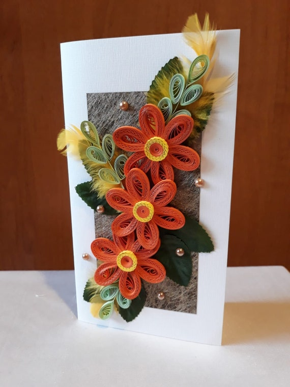 Tremendous Paper Quilling Greeting Card With Handmade Flowers Card For Etsy Personalised Birthday Cards Cominlily Jamesorg