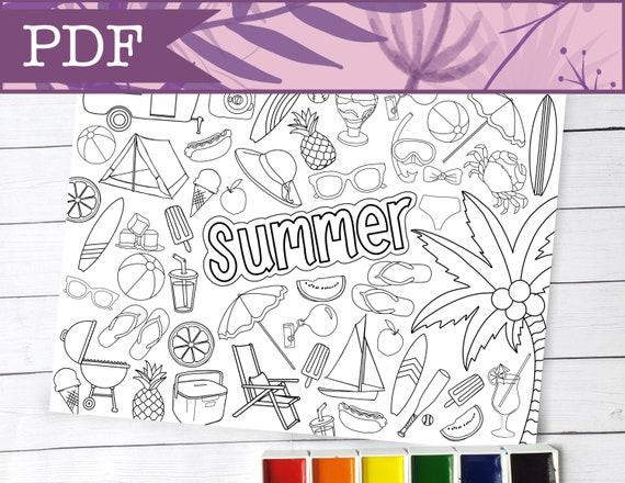 Seasonal Summer Coloring Page  Digital Download 8.5 x 11 inch