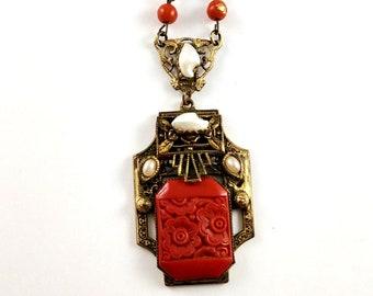 Art Nouveau Czech Glass Necklace, 1920's